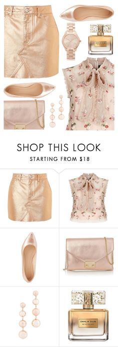 """""""Rose Gold Addict"""" by ayiarundhati ❤ liked on Polyvore featuring Topshop, Needle & Thread, Charlotte Russe, Loeffler Randall, Rebecca Minkoff, Givenchy and Michael Kors"""