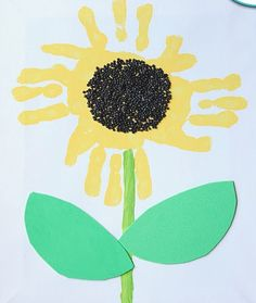 Yellow paint     Green paint  Paintbrushes   Scissors  Glue   Black beads  Paper  Green construction paper    How To Create Your Sunflower:  Paint your child's palm yellow and either stamp it for them or have them stamp it 4 times in a circle at the top of your paper. Paint a green stem. Cut 2 leaves out of your green construction paper and glue them to the stem. When the yellow paint is dry, put some glue in the middle of the sunflower in a circular shape and sprinkle with black beads
