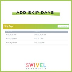 Whether you are continuing your therapy through the summer and need a way to skip days that you are unavailable or are needing an easy way to schedule in breaks during the school year without messing up your therapy schedule, Swivel can help you do that. BONUS...it will keep your goal rotation on track. Simply add the days you want to skip and that's it! Check out our YouTube channel for a quick tutorial!👍🏼    #Regram via @swivelscheduler
