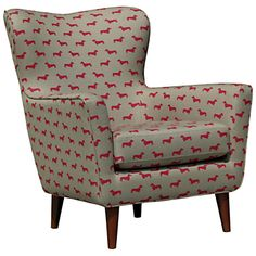 John Lewis Thomas In Hound Armchair in Emily Bond's signature Red Dachshund fabric