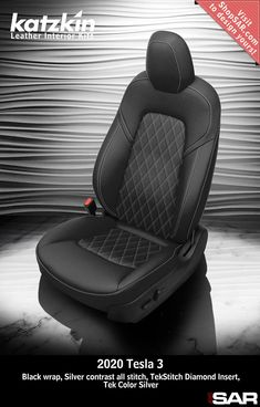 - This is a 2020 Tesla 3 seat with Black wrap, Silver contrast all stitch, TekStitch Diamond Insert, Tek Color Silver. Leather Kits, Custom Leather, Real Leather, Automotive Upholstery, Car Upholstery, Dodge Ram Crew Cab, Camo Gear, Leather Seat Covers, Popular Colors