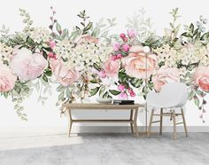Lovely large watercolor floral wall mural, perfect for nursery, kid's rooms, living rooms, bedro Vinyl Wallpaper, Wallpaper Panels, Print Wallpaper, Peel And Stick Wallpaper, Perfect Image, Perfect Photo, Princess Mural, Cool Pictures, Cool Photos