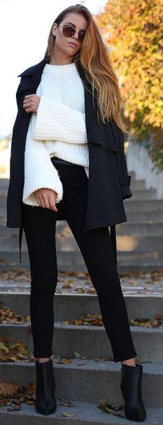 Josefin Ekstrom White Wide Sleeve Sweater Fall Street Style Inspo