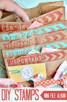 How to make perfect custom rubber stamps and mini albums with paper bags... Cute! the36thavenue.com