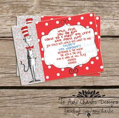 Printable Dr. Seuss Cat in the Hat Birthday Party Invitation - Cat in the Hat Baby Shower Invitations