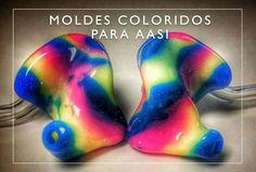 Moldes coloridos para aparelhos auditivos