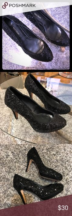 White House Black Market Sequined Heels 👠 Sequined Heels!!!! Who doesn't love black sequined stilletos?!? Overall good condition! There is wear on the bottom and minimal scuffing. Please see pictures for condition and feel free to message me! Offers accepted! White House Black Market Shoes Heels