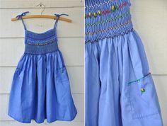 Blue Embroidered Girl Mexican Senorita Sun Dress by LaDeaDeiSogni, $28.00