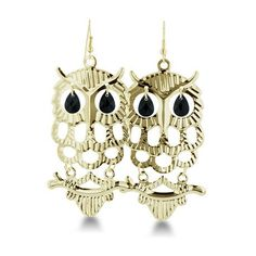 Delicate Goldtone Perched Owl Dangle Earrings at 82% Savings off Retail!