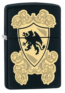 Feel like a knight with your very own Zippo coat of arms. This design is created with a combination of laser and auto engraving with the black matte base model showing through to form a dragon silhouette. (