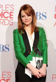 Emma Stone wearing Gucci Spring 2012 Green Blazer at People's Choice Awards     - Emma Stone looks pretty awesome in this -
