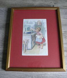 Vtg Framed Postcard Young Girl Cooking A.K. European Kitchen Scene Gold Frame