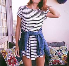 simple striped t-shirt dress & denim || zazumi.com