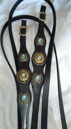 Trens hoofdstel barokke turquoise zwart met gouden