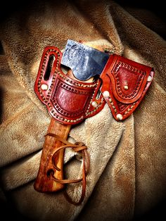 Gransfor Bruks Hand Hatchet #413 w/ Custom Leather & Suede Holster and matching Sheath by John Black