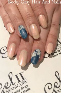 #gelii #manicure nothing at all , timeless teal #denimeffect #denim #pearl #chrome #flat3d #flowers #nailart #scratchmagazine #showscratch