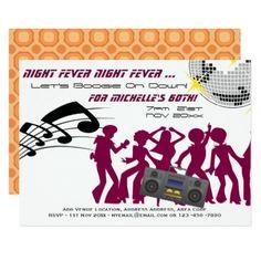 RETRO 60th Birthday Invite Boogie Night Fever - patterns pattern special unique design gift idea diy