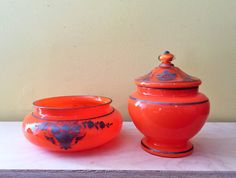 Pair of Vibrant Vintage Orange Czech Glass by TheTatteredCover$75.00