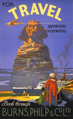 For Travel Anywhere, Everywhere. Vintage travel poster. #vintage #travel #egypy