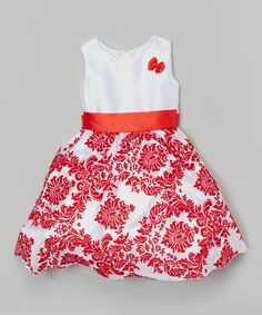 Another great find on #zulily! White & Red Damask Dress - Infant, Toddler & Girls by Kid Fashion #zulilyfinds