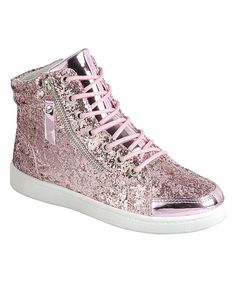 Pink Glitter Zip-Accent Ultra Hi-Top Sneakers - Women d8858ea9546a