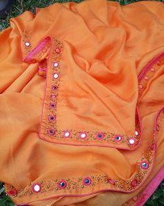 Sarees work Couture Embroidery, Embroidery Fashion, Embroidery Dress, Saree Blouse Patterns, Saree Blouse Designs, Zardosi Work Blouse, Christian Bridal Saree, Mirror Work Saree, Hand Work Blouse Design