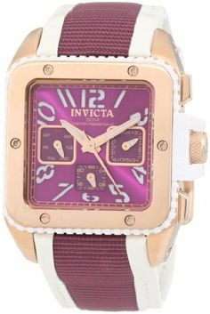 Invicta Women's 11579 Cuadro Purple Dial White Leather and Purple Nylon Watch Invicta. $99.95. 24 hour, day and date square subdials. Swiss quartz movement. Flame-fusion crystal; 18k rose gold ion-plated stainless steel case; white leather and purple nylon strap. Purple dial with rose gold tone and white hands, white arabic numerals; luminous; white polyurethane coin edge bezel with 18k rose gold ion-plated stainless steel ring. Water-resistant to 50 M (165 feet)