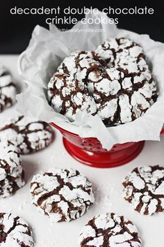 Decadent Double Chocolate Crinkle Cookies -- the best chocolate crinkle cookie recipe you will ever bake! We've taken a classic crinkles recipe up a notch by adding a secret ingredient to enhance the flavor. Chocolate Snowballs, Chocolate Christmas Cookies, Chocolate Crinkle Cookies, Chocolate Crinkles, Chocolate Roulade, Xmas Cookies, Baking Recipes, Cookie Recipes, Dessert Recipes