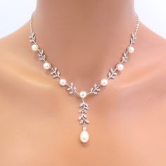 Bridal necklace Wedding pearl jewelry Pearl by TheExquisiteBride, $75.00