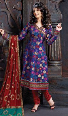 Blue Marigold Floral Jacquard Angarkha Chudidar Suit #trendy-salwar-patterns #best-salwarkameez