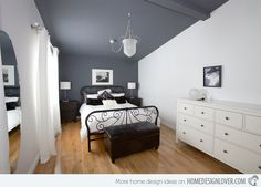 15 Charismatic Sloped Ceiling Bedrooms -- This might be the way to go as an inexpensive solution