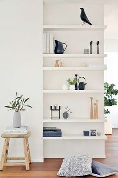 shelf storage with minimal decor / sfgirlbybay