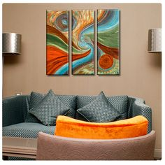 Canvas Print By Pery 3 Panel Abstract Acrylic Landscape Painting poster Artwork Repro Giclee photo decor photos fine art wall art
