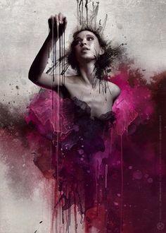 #radiantorchid  Art Portrait | ... digital art photoshop woman dramatic drip splash portrait mixed media