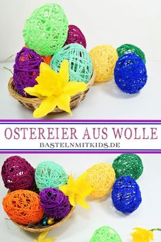 Woll- Ostereier Make colorful Easter eggs from wool. Make a versatile Easter decoration quickly and easily. Funny and sticky fun for kids at Easter. BAsteln with children and toddlers Halloween Crafts For Kids, Halloween Pumpkins, Halloween Diy, Halloween Decorations, Making Easter Eggs, Diy And Crafts, Paper Crafts, Easter Traditions, Coloring Easter Eggs