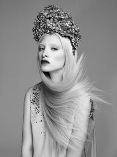Inspired by - Editorial. Black + White + Grey.  Floral headpiece. Hair windblown into a scarf.