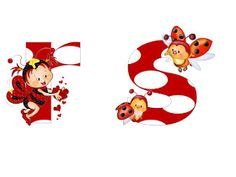 S.T.R.U.M.F.: Litere mari si cifre buburuze Alphabet, Tigger, Bowser, Smurfs, Minnie Mouse, Disney Characters, Fictional Characters, Collage, Ladybugs