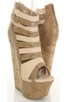 Taupe Faux Leather Snake Skin Texture Peep Toe Cork Wedges