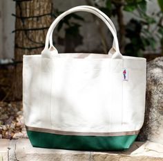 Canvas Boat Tote - Medium Hunter Green with Khaki by Parrott Canvas ($10.48)
