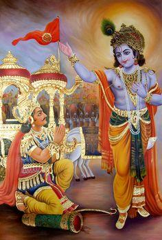 """Shri Krishna e Arjuna (Bhagavadgītā) """"Io ti spiegherò come conoscere me pienamente e chiaramente. Ti darò la conoscenza, e dopo averla avuta, niente più ti rimarrà da conoscere. Sono solo pochissimi gli uomini che arrivano a conoscermi nella mia vera essenza."""" (7,1-3)"""