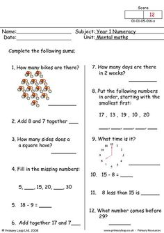 This is a mental maths worksheet for year one. There are twelve questions that should be answered as quickly as possible. Math Quizzes, Mental Maths Worksheets, Math Addition Worksheets, First Grade Math Worksheets, School Worksheets, Math Resources, Map Activities, Free Worksheets, Math Questions