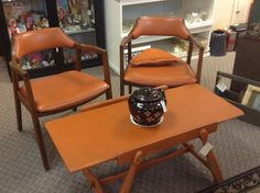 Awesome Retro orange table and two chairs (Booth M228)