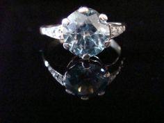 ART DECO/ EDWARDIAN 9CT PLATINUM BLUE ZIRCON AND OLD CUT DIAMOND RING - C