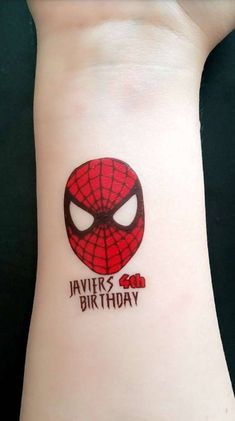 Spiderman birthday party temporary tattoos More from my sitedinosaur birthday party Avengers Birthday, Superhero Birthday Party, 6th Birthday Parties, August Birthday, Third Birthday, Birthday Fun, Spiderman Theme, Spiderman Birthday Ideas, Create A Tattoo