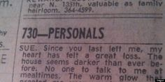 This Personal Ad Will Break Your Heart... Until You Get To The Last Line