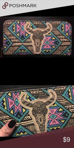 🔮 Trippy Aztec Antelope Sugar Skull Wallet 🔮 Dope neon Aztec print with antelope sugar skull. Bags Wallets