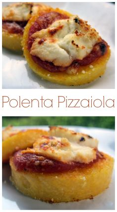 Polenta Pizzaiola - sliced polenta topped with pizza sauce, ricotta and mozzarella - quick dinner or appetizer!