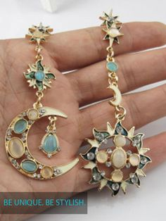 Try A New Style! Be Unique With These New Fashion Unique Earring Sun God and Moon God Crystals. Free Shipping.