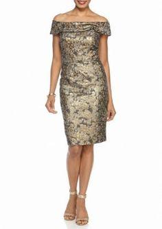 Calvin Klein  Off the Shoulder Printed Jacquard Sheath Dress