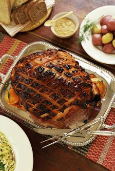This is a recipe for a baked ham with glaze made from bourbon, honey, molasses and mustard.